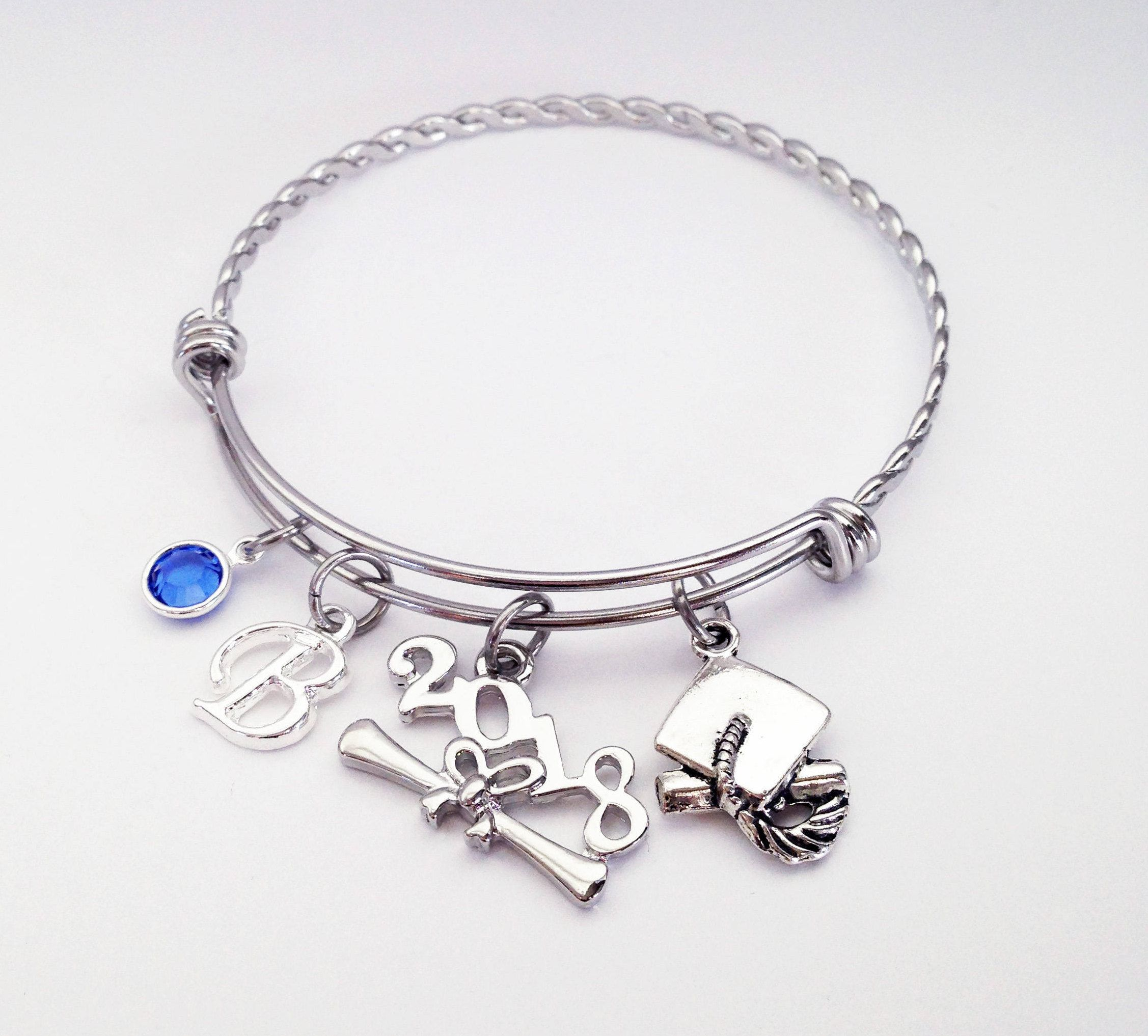 graduation bracelet her senior cap for gift pin