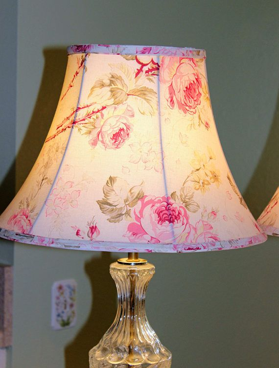 Pair Of Lamp Shades Pink Cabbage Rose Print Cream Background