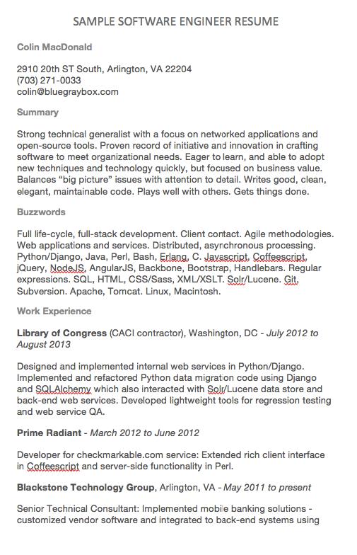 Software Engineer Resume Examples Colin Macdonald 2910 20th St South Arlington Va 22204 703 271 0033 Colin Bluegraybox Com Summary Strong Technical Generali