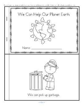 Earth Day Emergent Reader For Preschool Pre K And Kindergarten