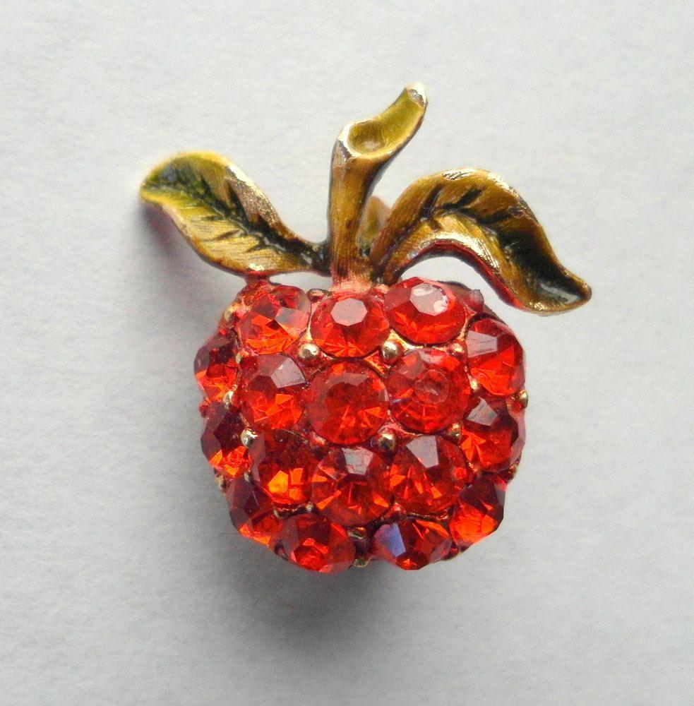 Mamselle Rhinestone Fruit Brooch by wishboneart on Etsy