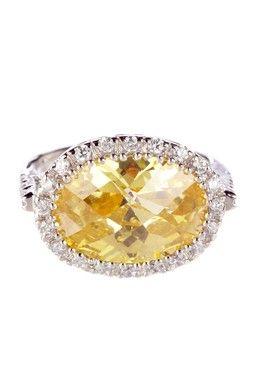 Crystal Cut CZ Side Oval Ring