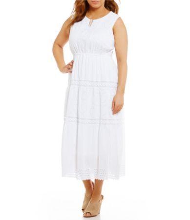 8ca48b86ca1 Reba Plus Embellished Tiered Maxi Dress  Dillards