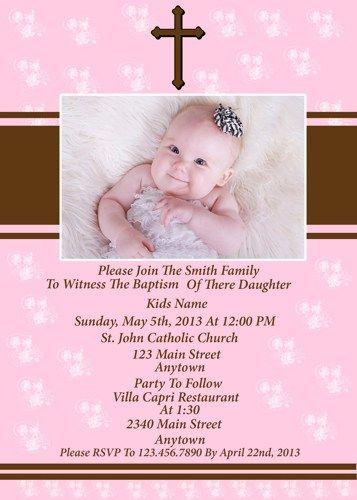 BABY GIRL BAPTISM INVITATION chloescards - Digital Art on ArtFire - invitation for baptism girl