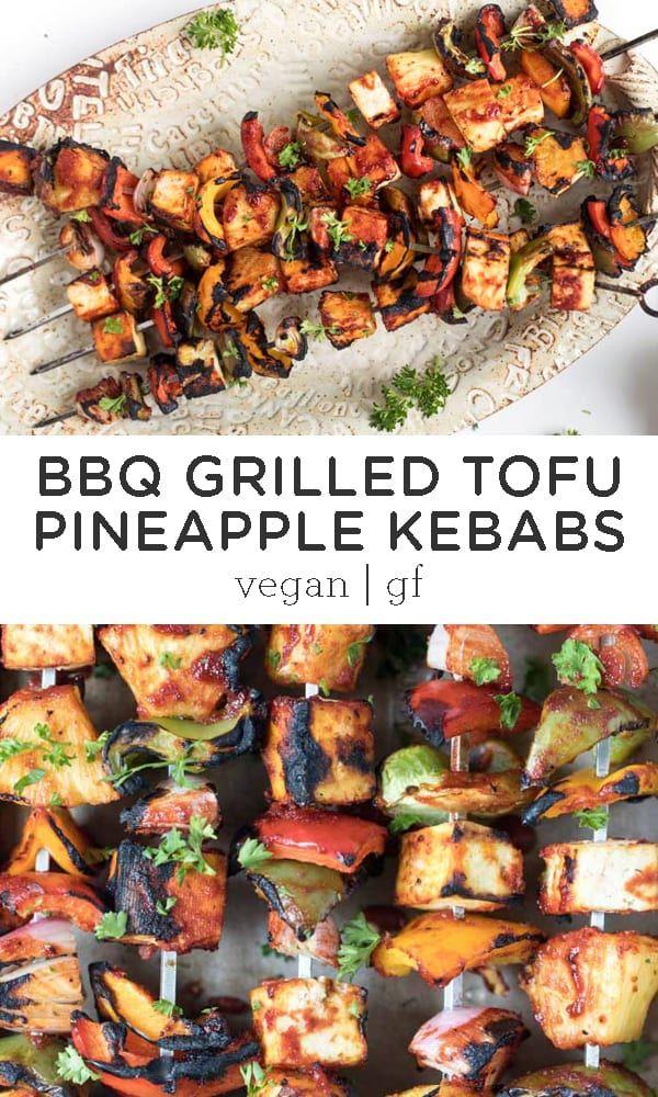 Barbecue Grilled Pineapple Tofu Kebabs