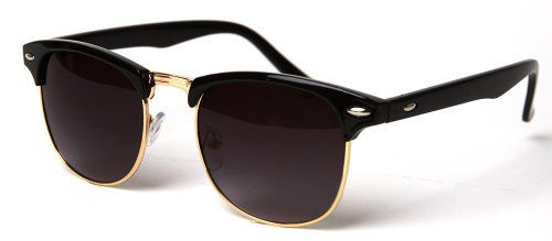 69e2b1e7018 Vintage Hollywood Gradient Half Frame Classic Wayfarer Style Sunglasses-  Black  Gold with GT Pouch