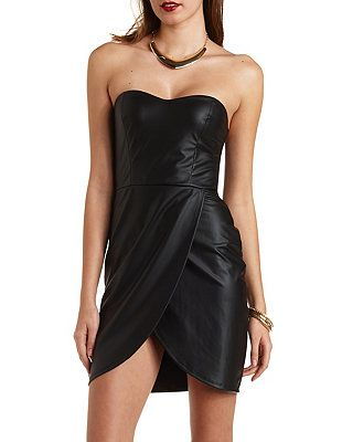 Faux Leather Strapless Bodycon Dress: Charlotte Russe