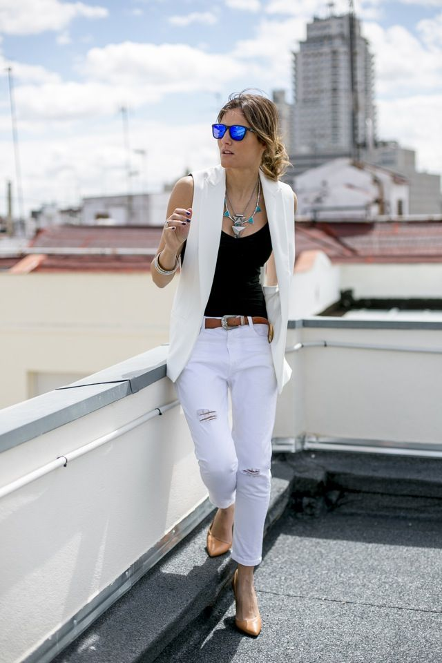 chaleco blanco outfits , Buscar con Google