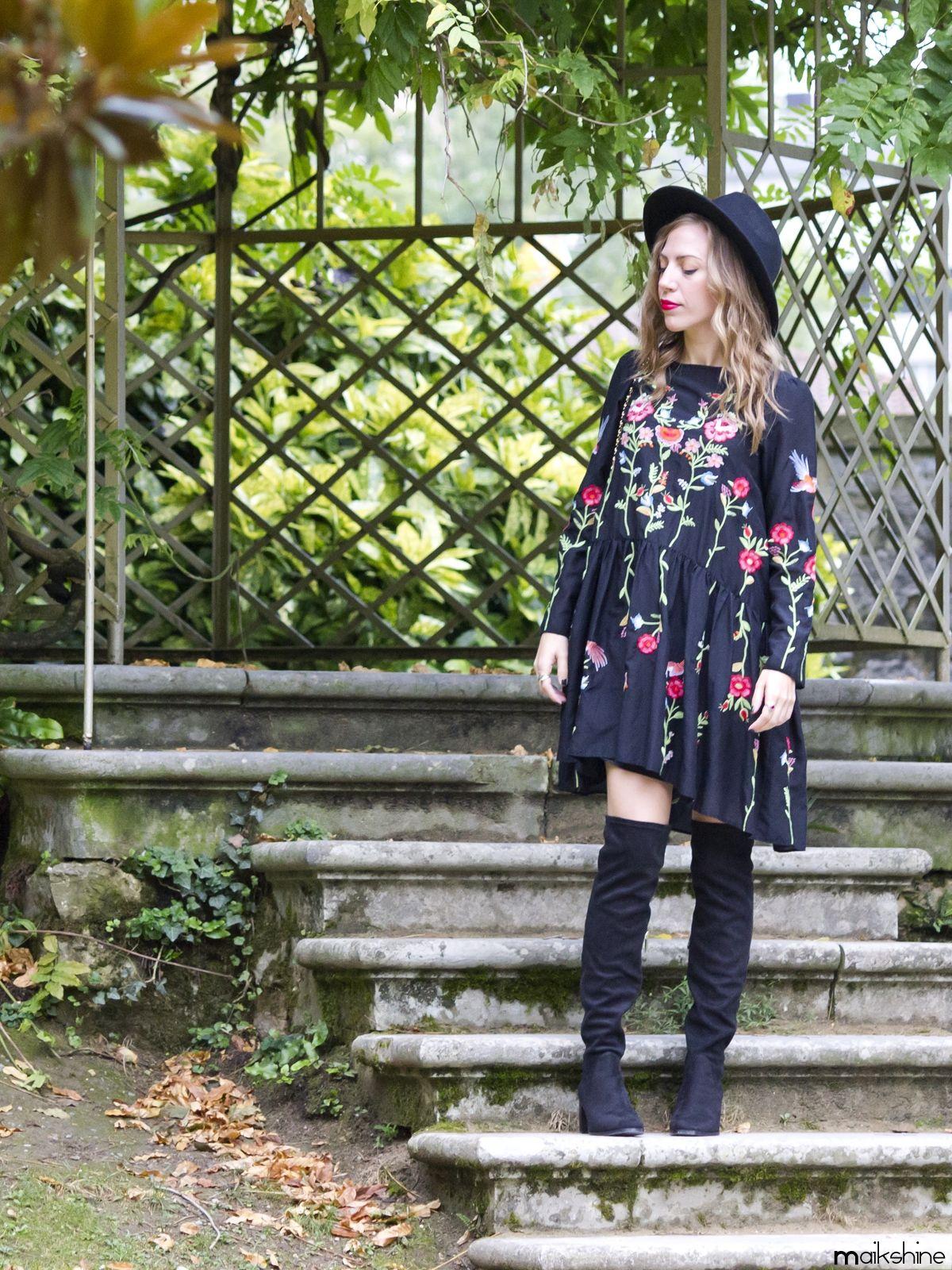 0672ce4ed4f Vestido bordado floral - Temporada  Otoño-Invierno - Tags  Outfit
