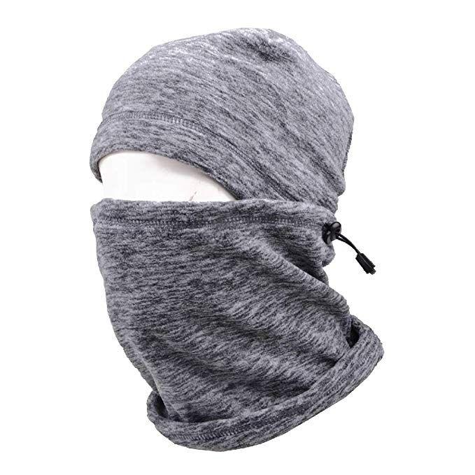 0814ff4436c TRIWONDER Balaclava Hood Hat Thermal Fleece Face Mask Neck Warmer Winter  Ski Mask Full Face Cover Cap (Grey - 17)