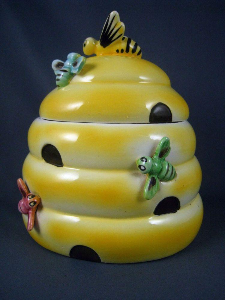 Vintage ceramic pottery bumble bee cookie jar bee hive bee cookies cookie jars and vintage - Beehive cookie jar ...