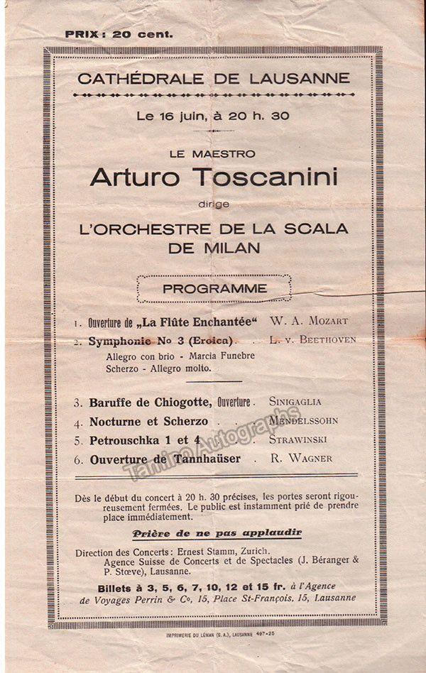Toscanini Arturo  ProgramPlaybill Concert In Lausanne