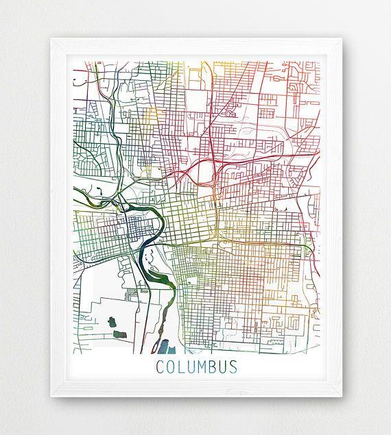 INSTANT DOWNLOAD: Columbus City Urban Map Poster, Columbus