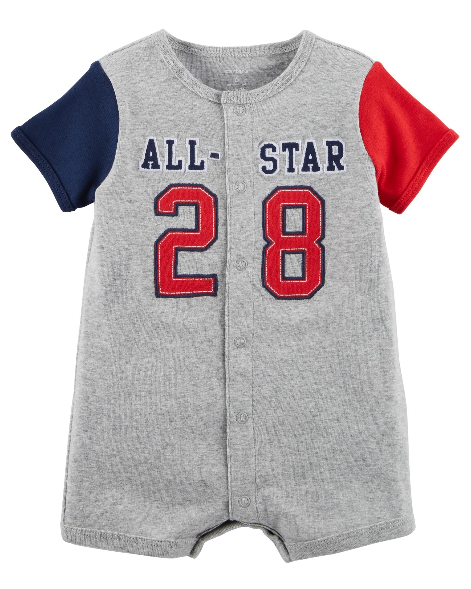 9be524184 All-Star Snap-Up Cotton Romper | BABY&KIDS | Carters baby boys, Baby ...