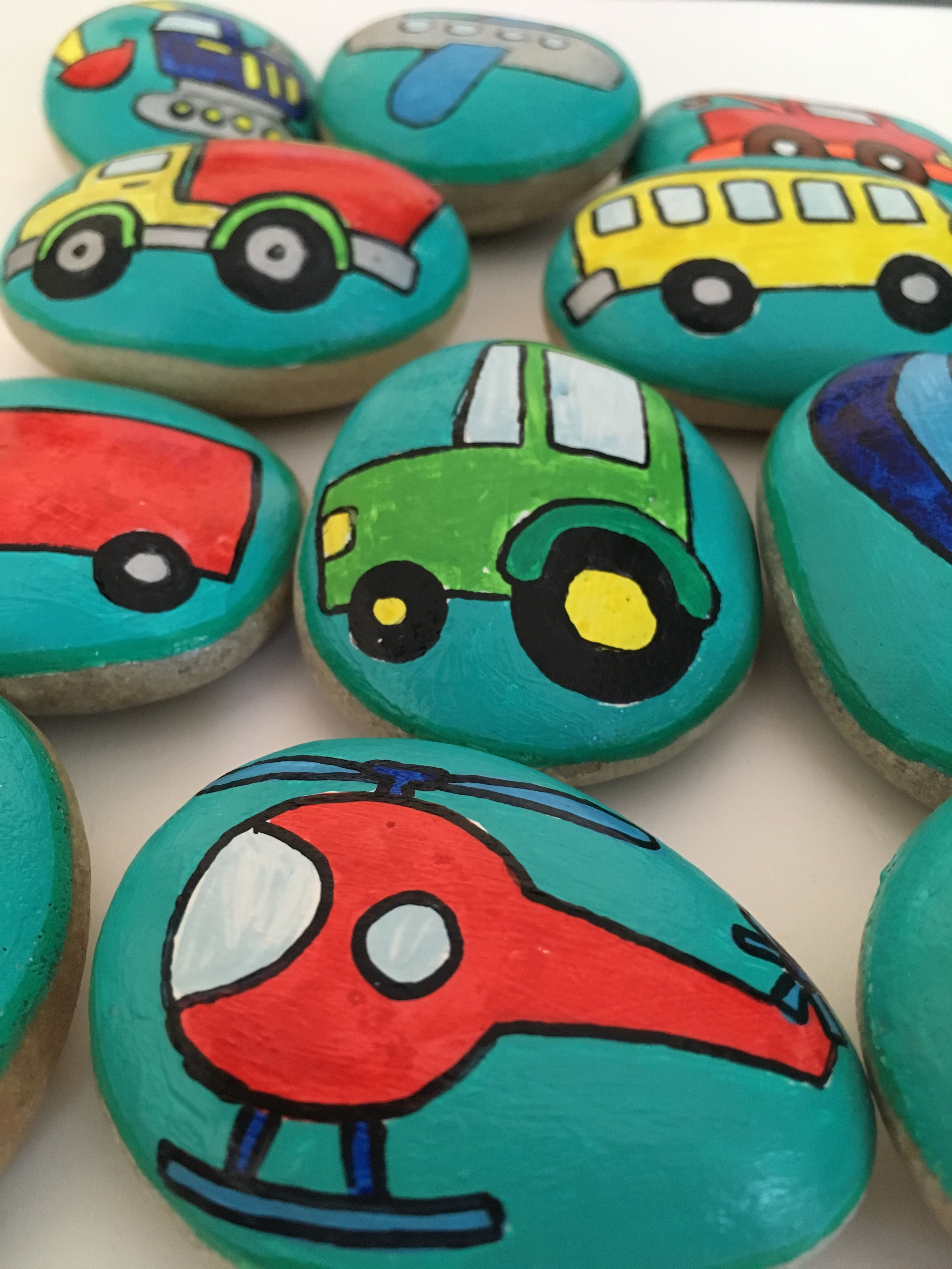 Airplane and Helicopter Stones Vehicles Story Stones Early Literacy Tool Transportation Party Favors Set of Cars and Trucks Story Rocks