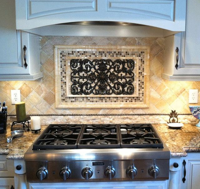 6 Kitchen Backsplash Ideas That Will Transform Your Space: Luxurious Metal Backsplash Murals Combined With Silver Gas