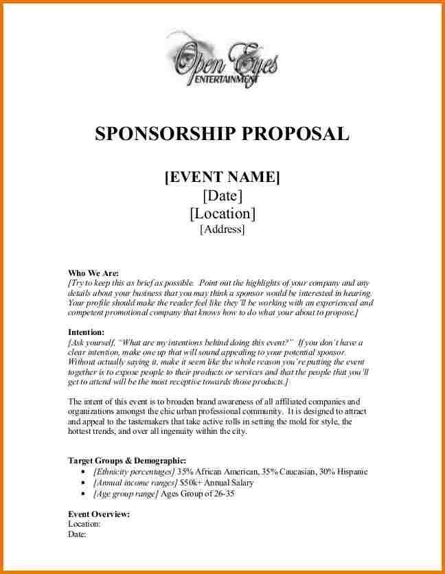 Sponsorship Proposal Non Profit Pinterest Sponsorship Letter
