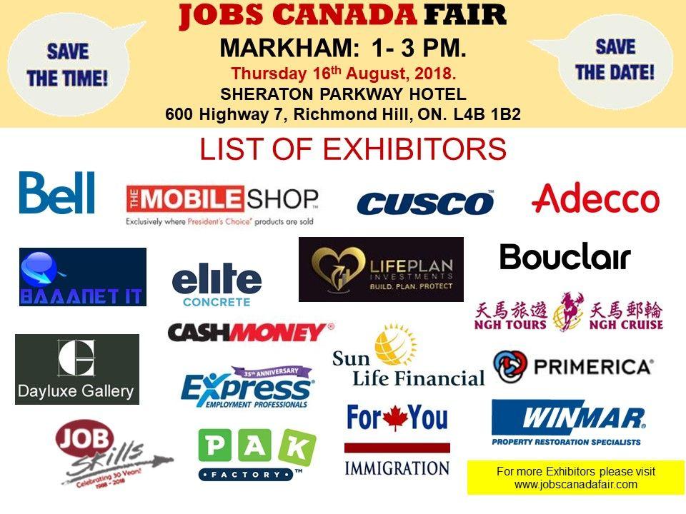 List of Hiring Companies for Markham Job Fair, August