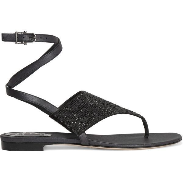 René Caovilla Crystal-embellished satin sandals (£320) ❤ liked on Polyvore featuring shoes, sandals, black, strappy shoes, low heel strappy sandals, black strap sandals, rene caovilla sandals and black strap shoes