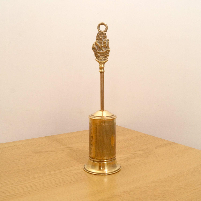 fireplace tool brush broom vintage brass genuine horse hair