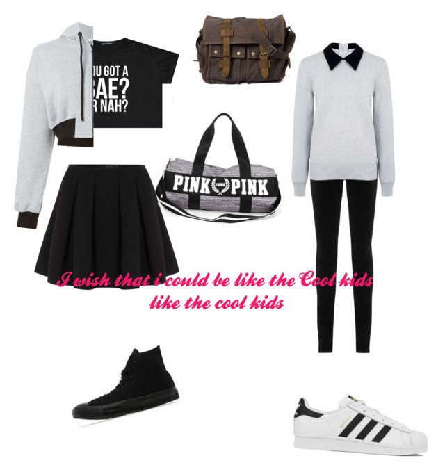 """""""cool kids"""" by staceyaga on Polyvore featuring beauty, Polo Ralph Lauren, Converse, Moschino, AG Adriano Goldschmied, Edit and adidas"""