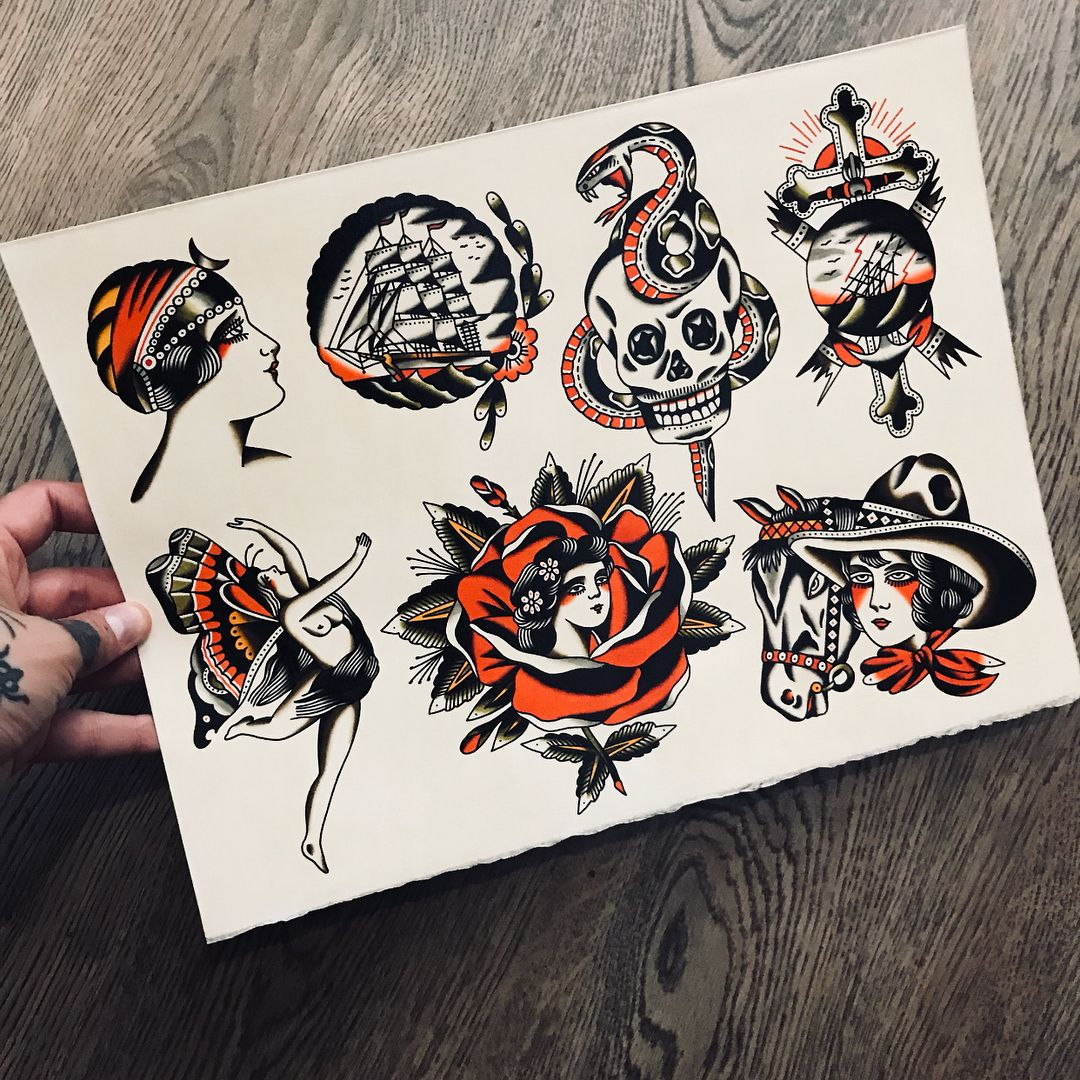 Sold Some Originals For Sale Dm If You Want Lisbontattoo Traditionalflash Tattoo Traditional Tattoo Sketches Tattoo Flash Art Traditional Tattoo Design