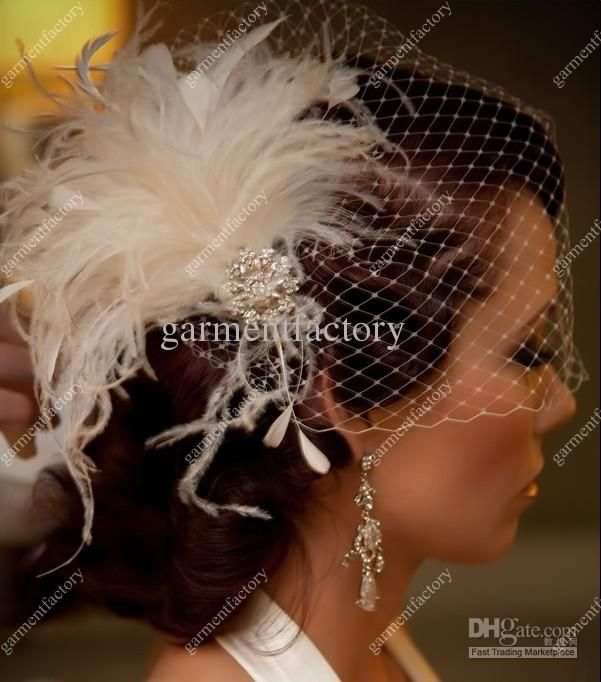 Whole Veils Wedding Bridal Veil Hats Feather Birdcage With Delicate Hand Made Flowers And