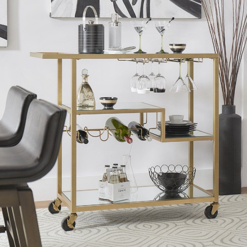 INSPIRE Q Metropolitan Gold Metal Mobile Bar Cart with Mirror Glass Top