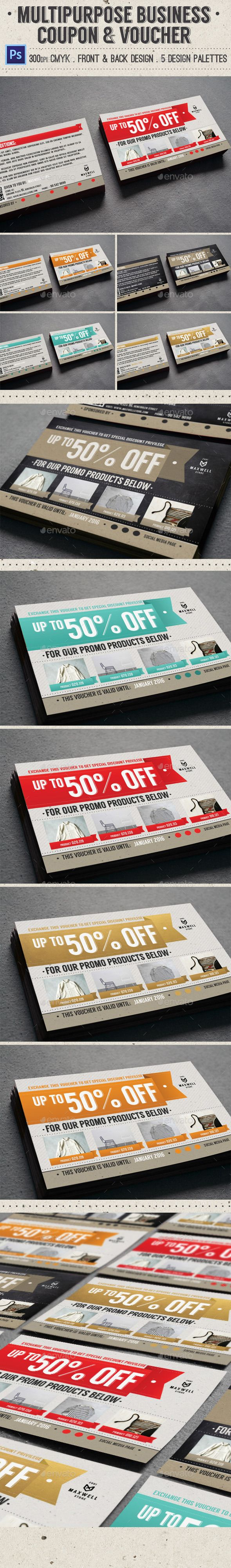 Multipurpose Business Coupon & Voucher - PSD Template • Only ...