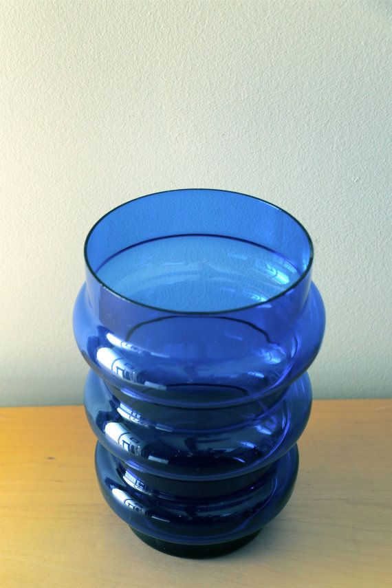 Super, Cobalt Blue Hoop Vase, probably Swedish, Unmarked. Nice wide size, very good used vintage condition. Hand blown, a few air bubbles throughout. Measurements: approx. 8.5 tall, Opening is 5 wide, 6.5 at widest point. Vase is a darker cobalt blue than the photo shows. Striking