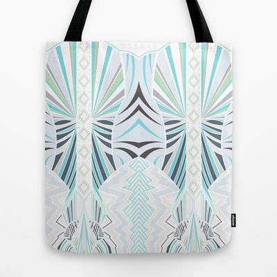 Deco in Blue Tote Bag by House of Jennifer - $22.00 #art #design #pattern #textile #fabric #geometric #colour #color #houseofjennifer