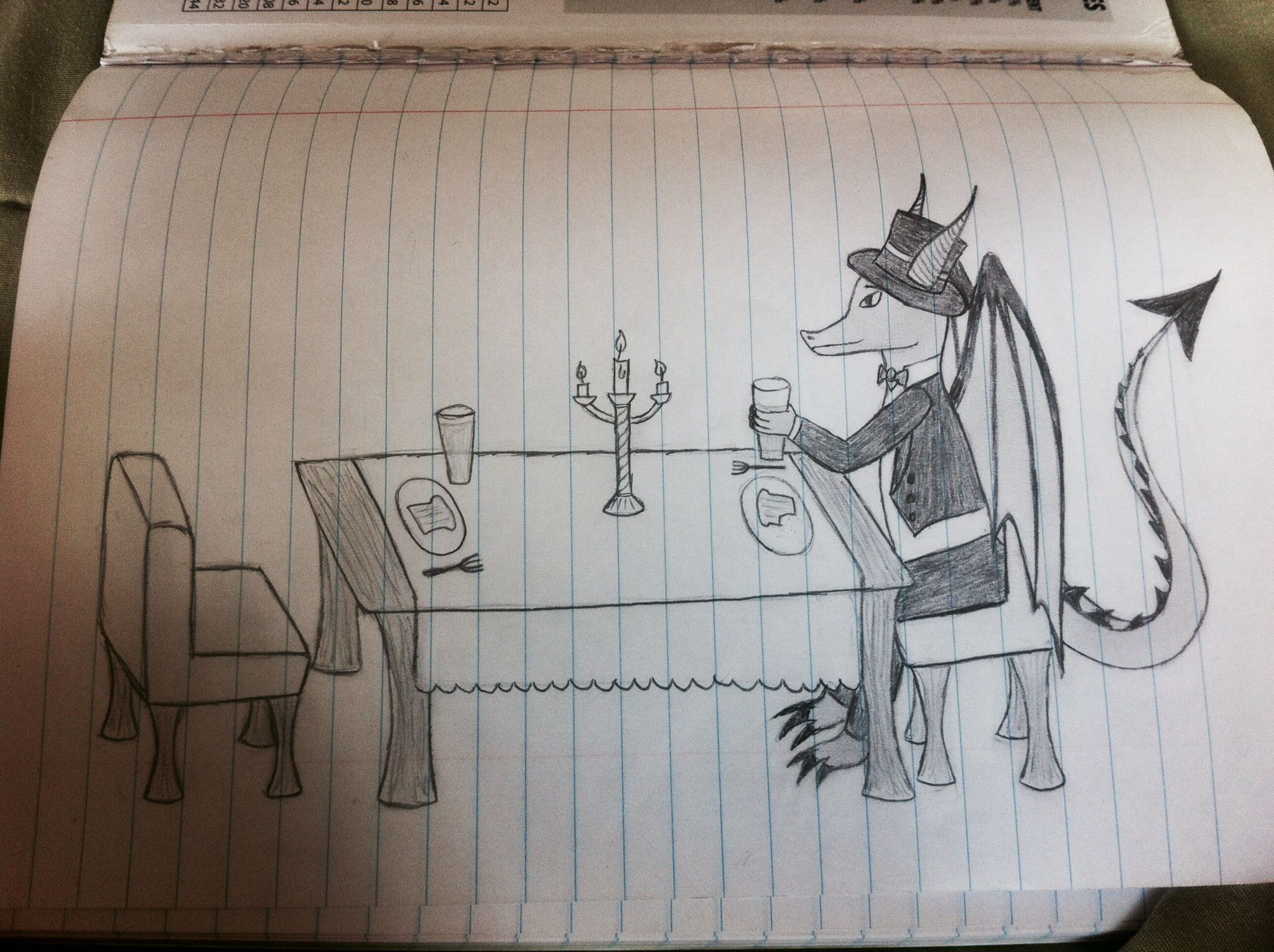 A gentlemanly dragon eating alone.