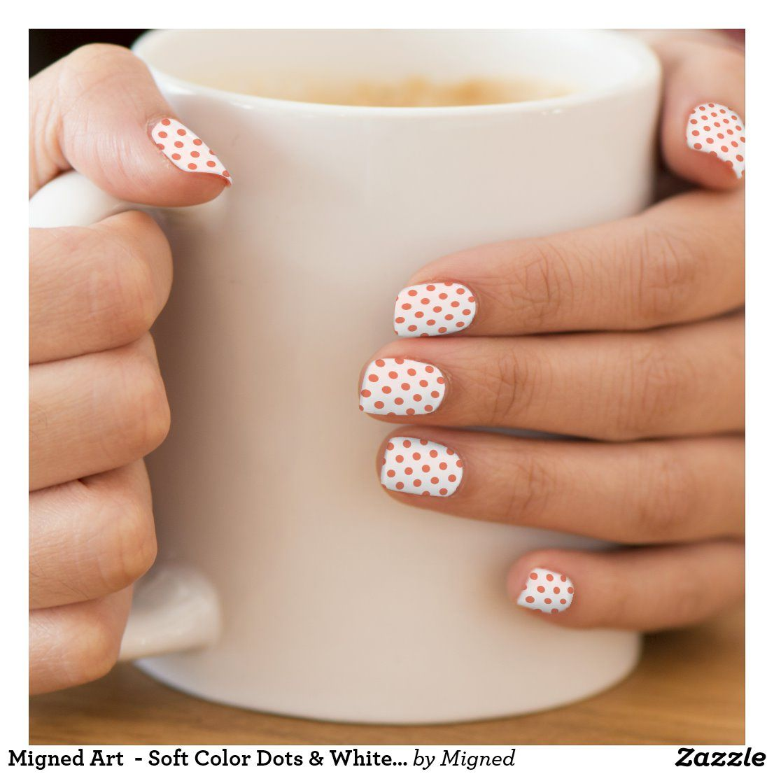 Migned Art  - Soft Color Dots & White - Minx Nail Art | Zazzle.com