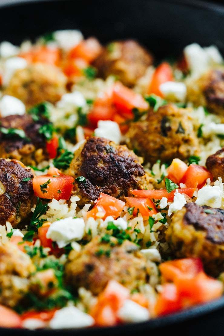 Greek Turkey Meatballs + Lemon Rice Skillet– Easy, simple, and fresh