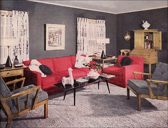 Red Couch Charcoal Walls Living Room