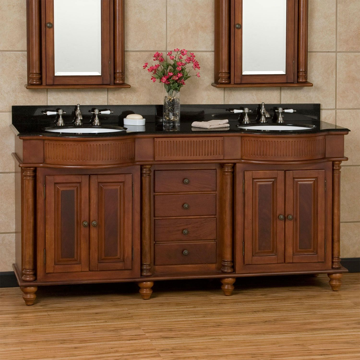 "60"" Keller Mahogany Double Vanity for Undermount Sinks Dark"