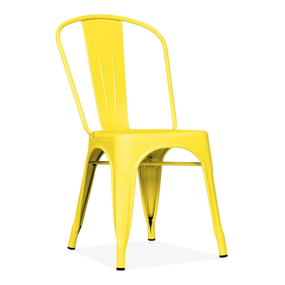 Xavier Pauchard Tolix Style Metal Side Chair   Yellow