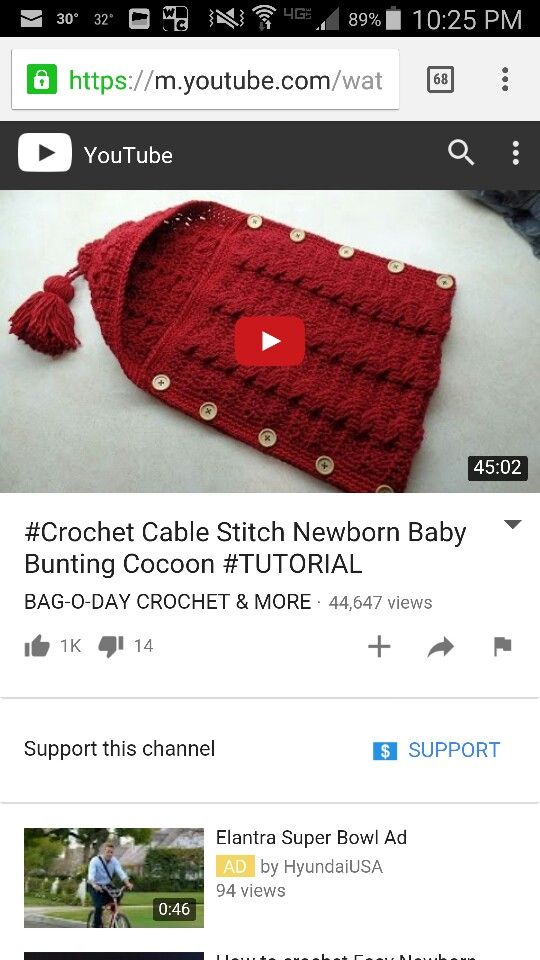Crochet cable stitch Newborn Baby Bunting Cocoon video tutorial ...