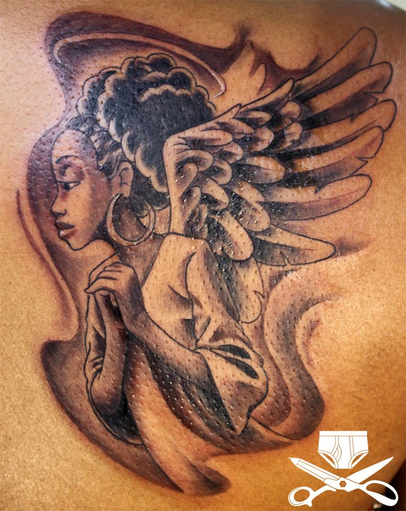 Black Queen Tattoo Designs : black, queen, tattoo, designs, African, American, Angel, Tattoo, Hautedraws, Tattoos,, Queen, Tattoo,, Tattoos