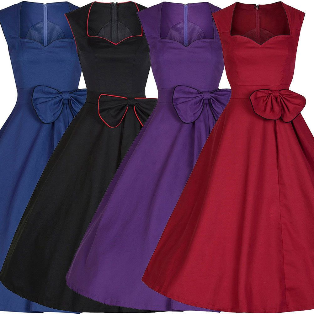 UK Women 50s Retro Floral Rockabilly Swing Cocktail Evening Party ...