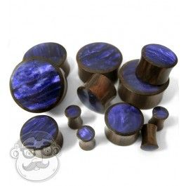 Wood plugs with purple resin inlay 4G - 1 Inch