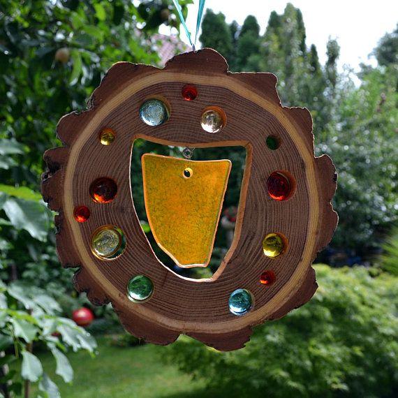 Gartendeko Anhänger Holz Sonnenfänger Fusing Glas Element 20 Cm Akazie Natur Fenster