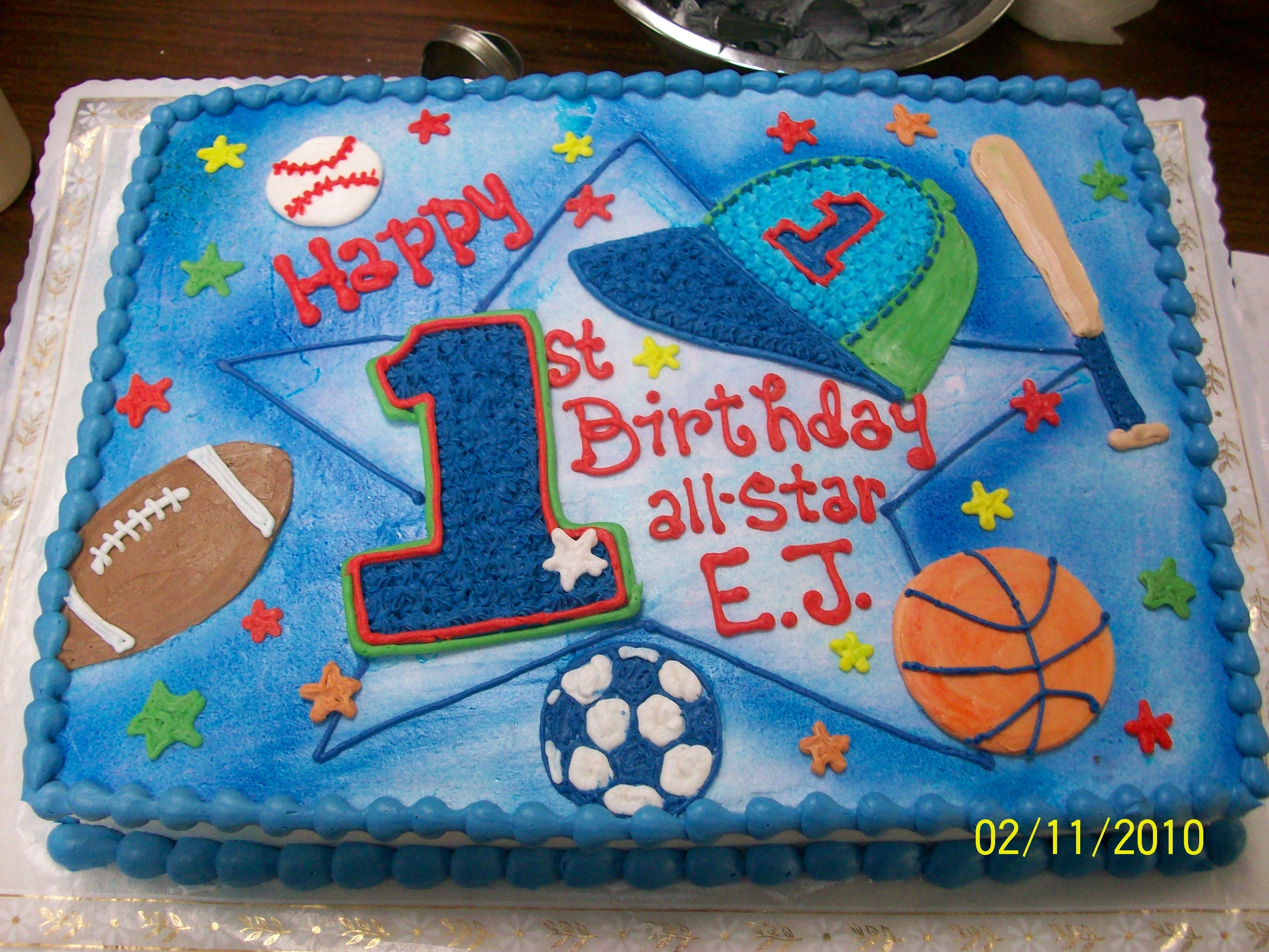 All Star 1st Birthday Cake In Sports Theme