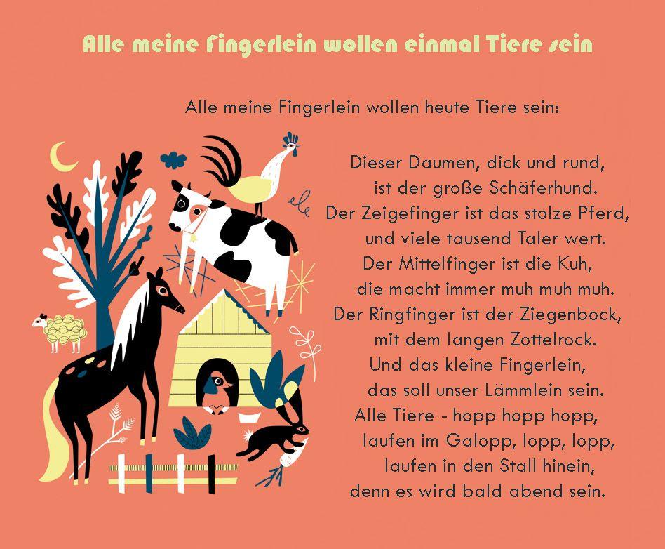 Fingerspiel Kindergarten Erzieher Erzieherin Tiere Kita