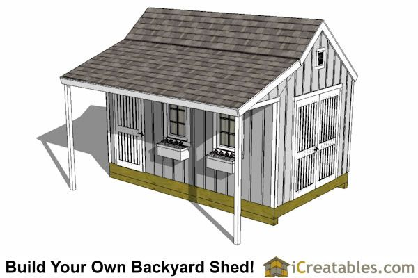 10x16 cape cod storage shed plan porch top gardens for Storage building plans with porch