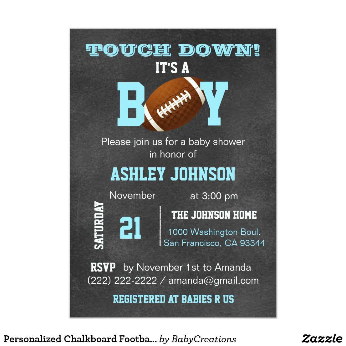 Personalized Chalkboard Football Theme Baby Shower Card | Football ...