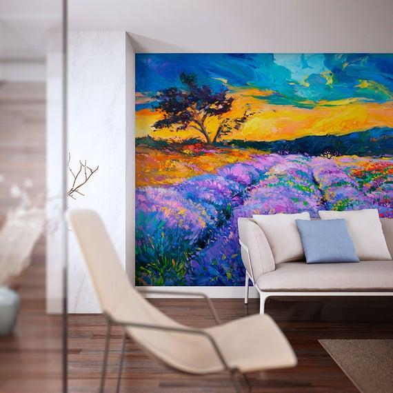Lavender Field Wall Mural Removable Vinyl Self Adhesive Etsy Wall Wallpaper Mural Wall Murals