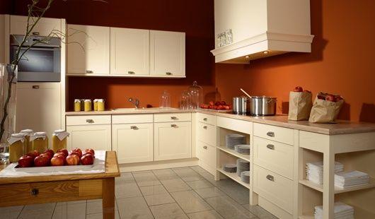Cuisine contemporaine en couleur de la vanille peinture orange maison pinterest peinture - Meuble cuisine couleur vanille ...