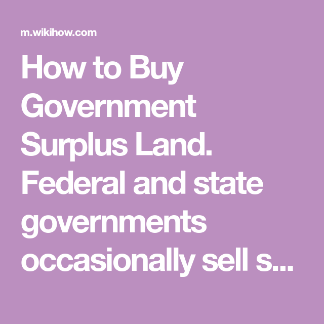 How To Buy Government Surplus Land