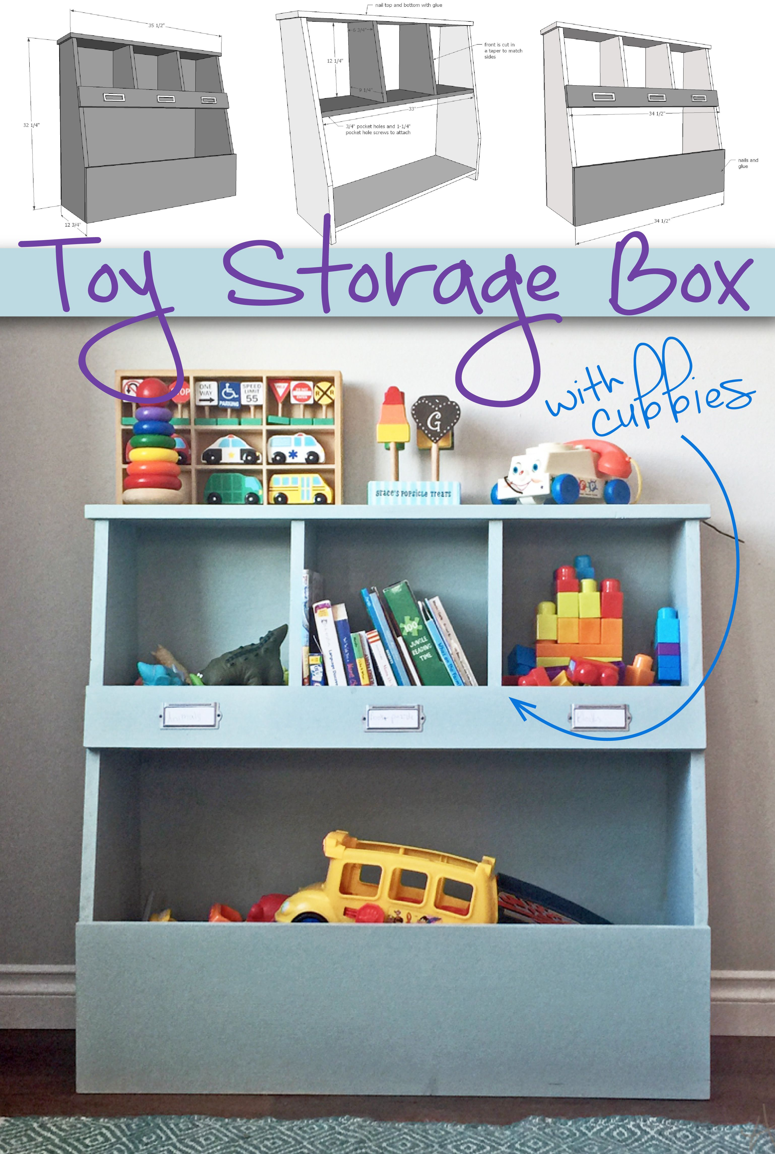 Toy Bin Box With Cubby Shelves Diy Toy Storage Toy Storage Bins Toy Storage Boxes